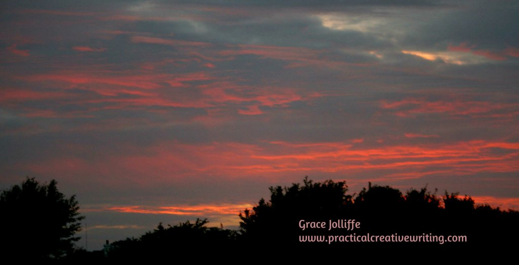 beautiful red Galway sunset illustrating an article about creative writing exercises