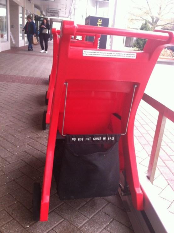 Stroller warning label