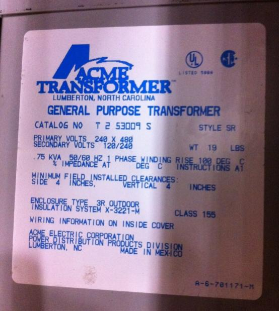 480 input 240/120 output control transformer wiring mystery