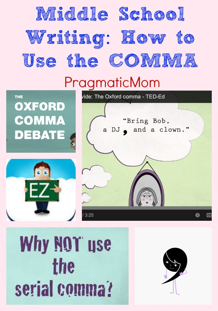 Middle School Writing How to Use the COMMA \u2013 PragmaticMom - comma and and
