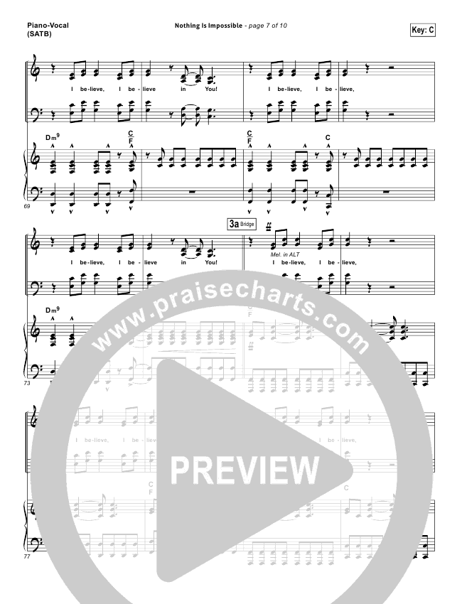 nothing is impossible lead sheet