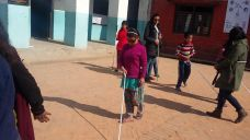 Visually impaired people learning to walk independently using white cane