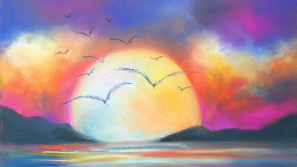 Pastel Painting of a large sun shining across a lake