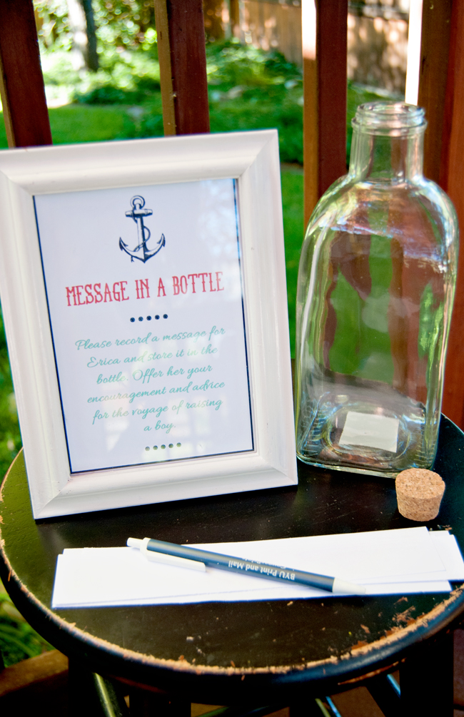 Nautical Baby Shower Message in a Bottle