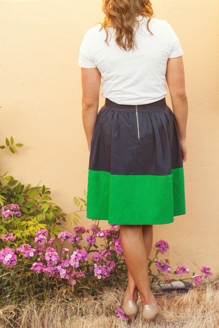 Color Block Party Skirt (Navy/Kelly Green)