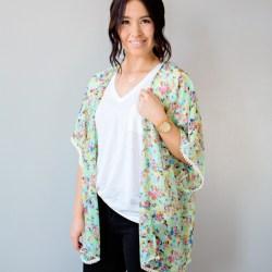 Teal Floral pom pom Kimono