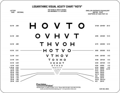16 Inch Vision Testing Charts for School Nurses - Precision Vision