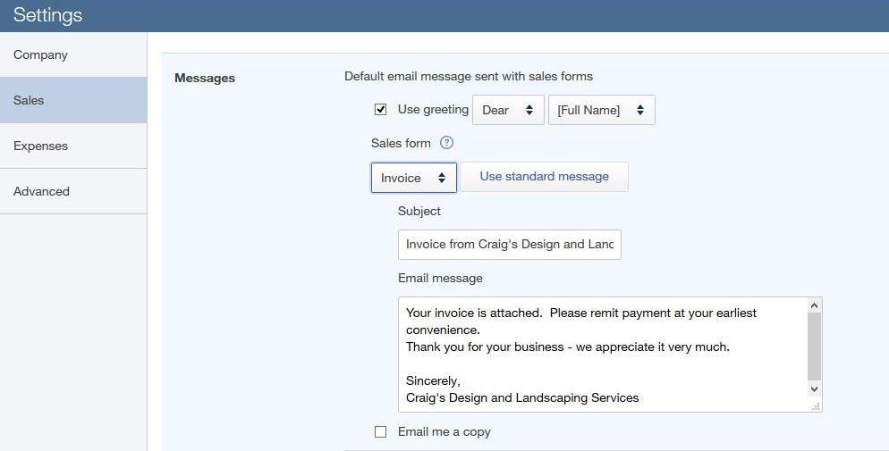Invoice by Email, Customized Greeting Precision Accounts