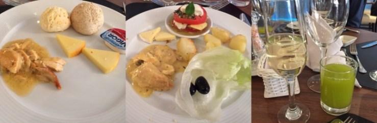 Queijos, salada caprese, salmão ao molho de maracujá e batatas assadas