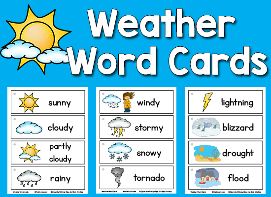 Weather Picture Word Cards Prekinders