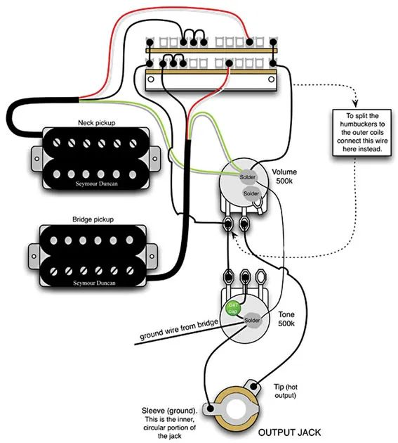 bass guitar output jack wiring