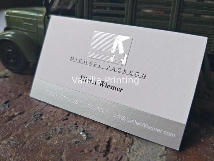 Silver Foil Embossed Business Cards , Delicate Letterpress Name Card