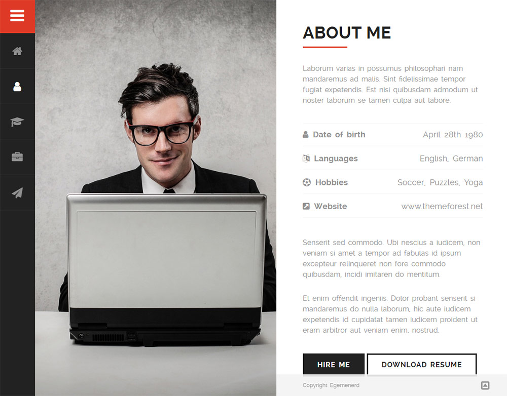 Divergent - Personal Vcard Resume WordPress Theme Premium Resumes - resume wordpress theme
