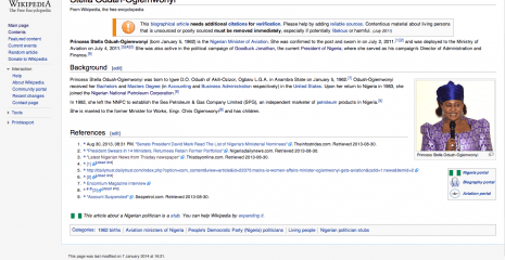 Latest revision of Stella Oduah's Wikipedia Page (Revised January 7, 2014 at 4:21 Nigerian time)