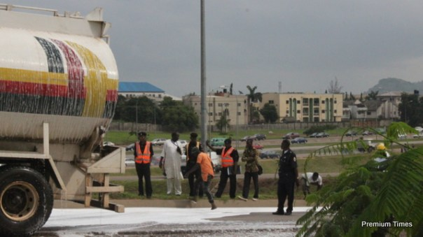 PHOTOS: Tragedy averted as NNPC petrol tanker skids off road