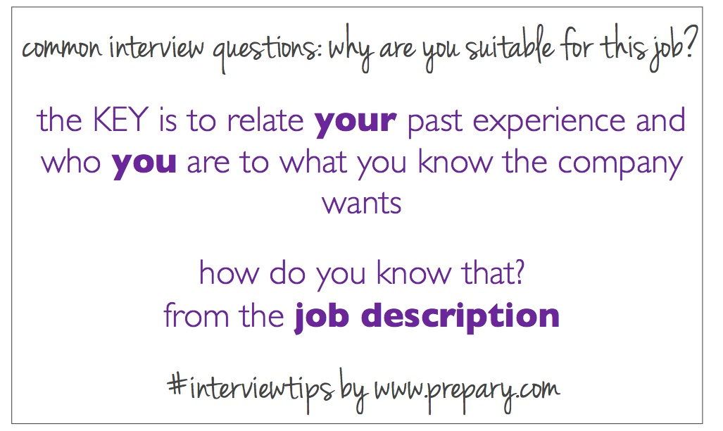 Common interview questions Why are you suitable for this job?  The