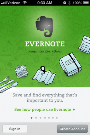 Evernote App Homepage