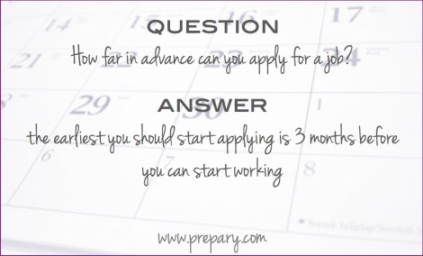 how far in advance can you apply for a job
