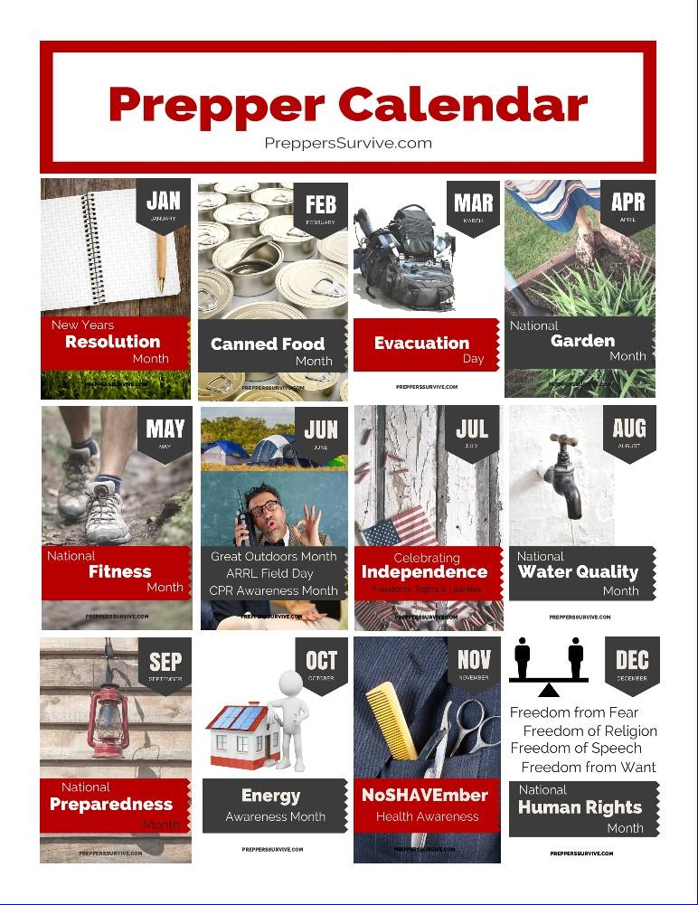 photograph regarding Printable Prepper List named Prepper Calendar: 12 Thirty day period Prepper Listing - Preppers Endure