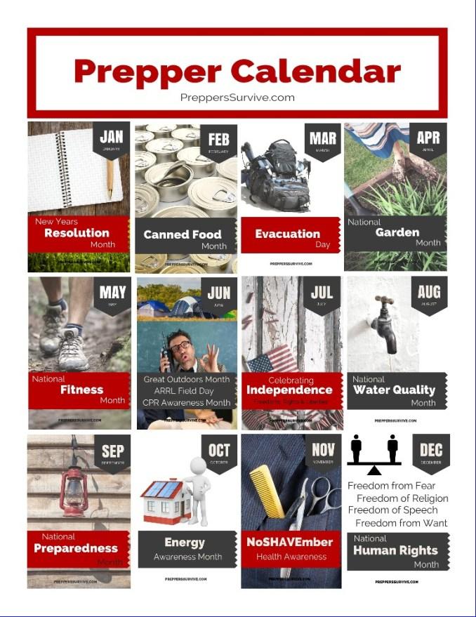 Prepper Calendar: 12 Month Prepper Checklist