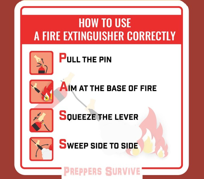 Fire Extinguishers - steps to use a fire extinguisher