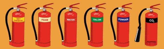 steps to use a fire extinguisher - types of fire extinguishers