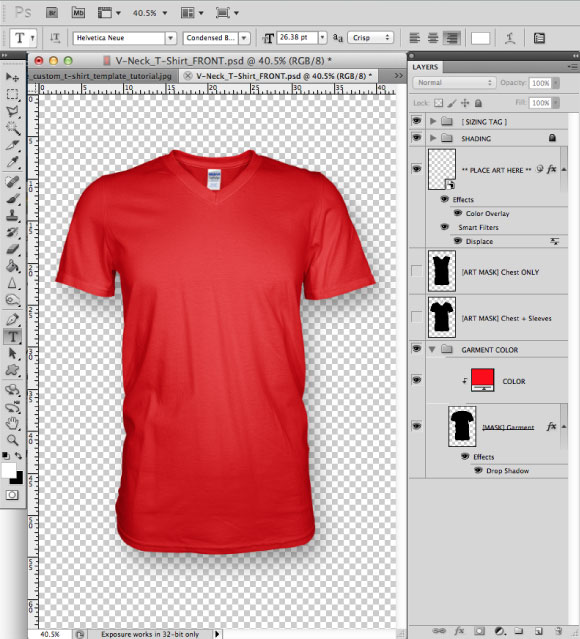Add a Greymarle fabric to t-shirt design template 01 Prepress