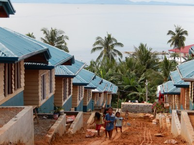 This village was relocated to higher ground in Samar after the fishing sites and nearby homes were swamped by storm surge. Approximately 73 new homes have been constructed. (Photo by Dayna Oliver)