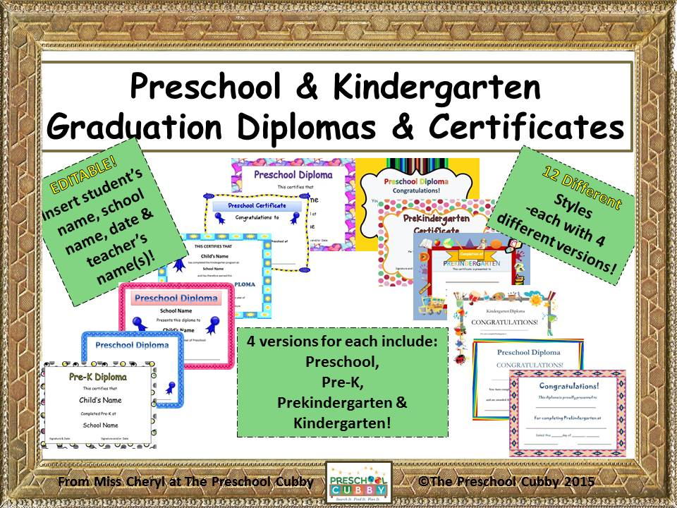 Preschool Graduation Diplomas Resource