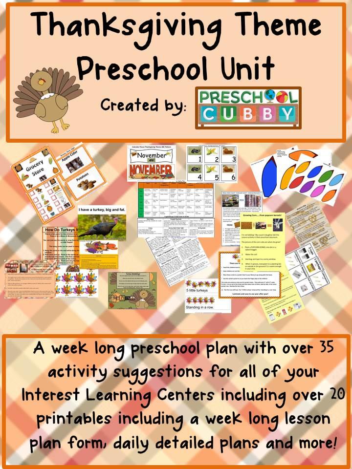 Preschool Thanksgiving Activities Theme - preschool lesson plan