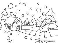 Snow Scene Coloring Page | Teacherplanet.com
