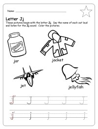 letter j trace line worksheet for preschool - Preschool Crafts