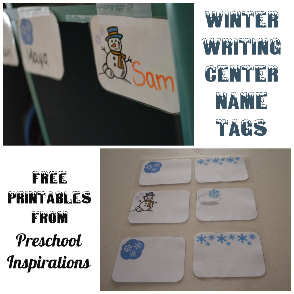 Winter Writing Center Name Tags by Preschool Inspirations