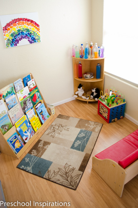 The library and quiet area  for my in home preschool