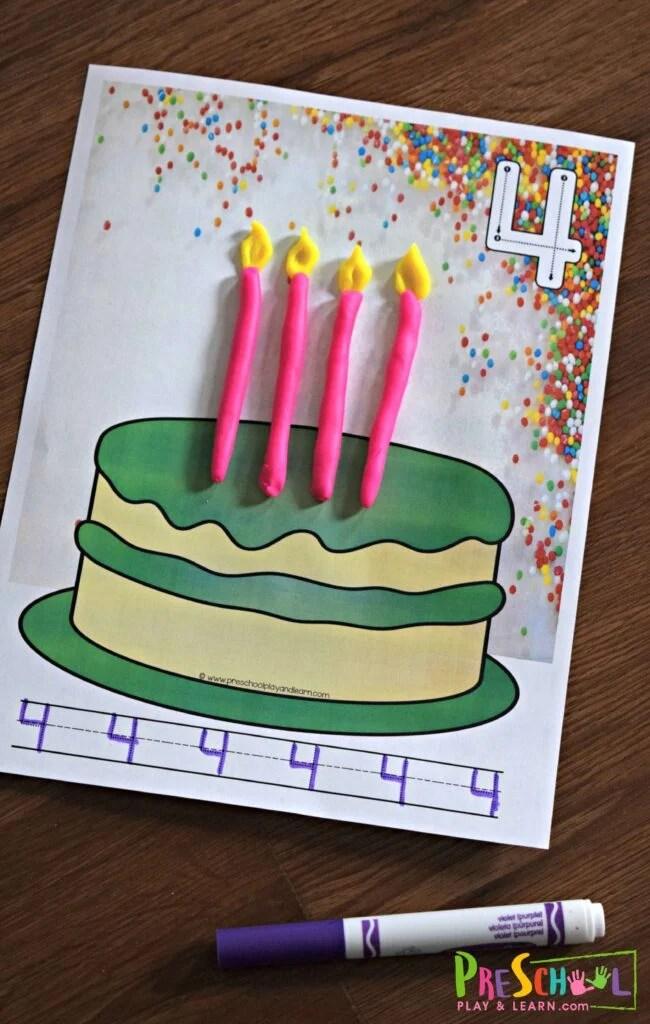 FREE Birthday Cake Playdough Mats \u2014 Preschool Play and Learn
