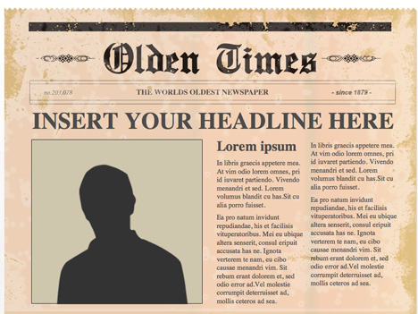 Editable PowerPoint Newspapers - newspaper headline template