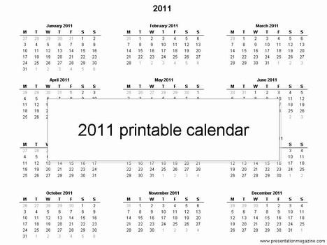 Free 2011 printable calendar template