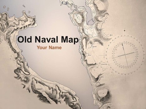 Old Naval Map PowerPoint Template - navy powerpoint templates