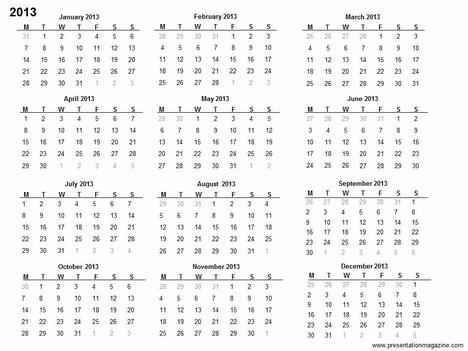 Free 2013 printable calendar template - printable calendar template