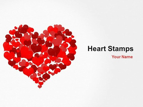 Heart Stamps PowerPoint Template