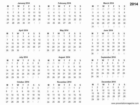 Free 2014 printable calendar template - free printable calendar