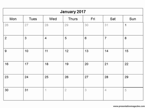 Free 2017 Monthly Calendar Powerpoint Template - powerpoint calendar template