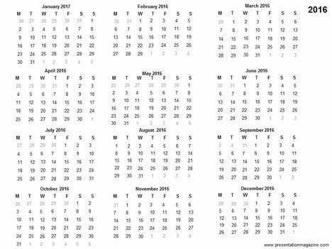 2016 yearly calendar template