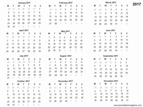 Free 2017 printable calendar template