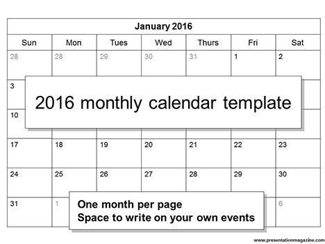 Free 2016 printable calendar template (Sunday Start) - printable calendar template