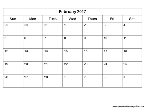 Free 2017 Monthly Calendar Template (Sunday Start) - monthly calendar templates