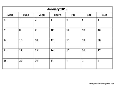 Free 2019 Monthly Calendar Template