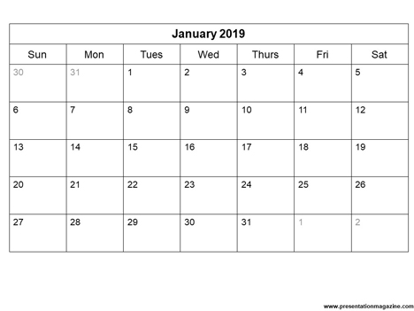 Free 2019 printable calendar template (Sunday Start)