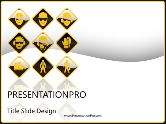 Safety Signs PowerPoint template background in Industry - Careers