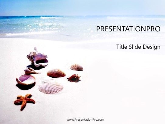 Sea Shells PowerPoint template background in Nature PowerPoint ppt